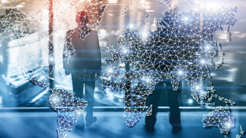 Global World Map Double Exposure Network. Telecommunication, International business Internet and technology concept. royalty free stock images