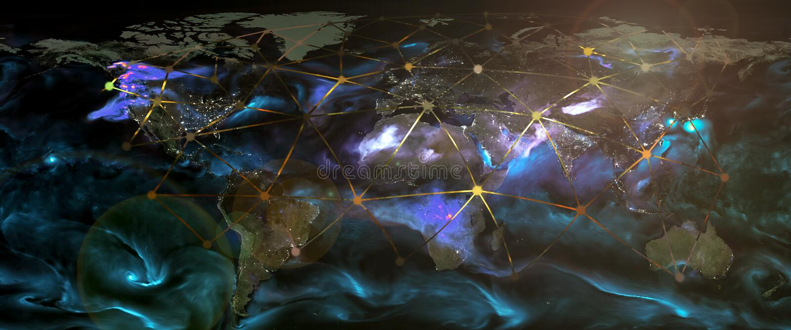 Global world telecommunication network connected. Around planet Earth, internet worldwide communication technology concept for finance, blockchain, IoT royalty free stock image