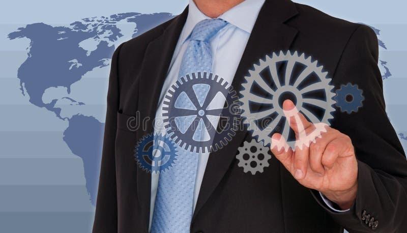 Globala chef och kugghjul royaltyfria bilder