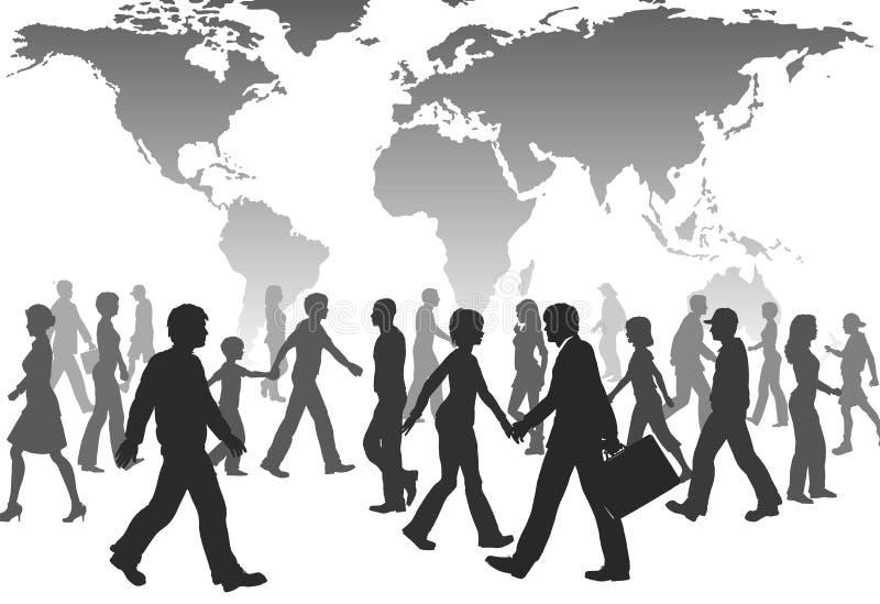 globala folkbefolkningsilhouettes går världen vektor illustrationer