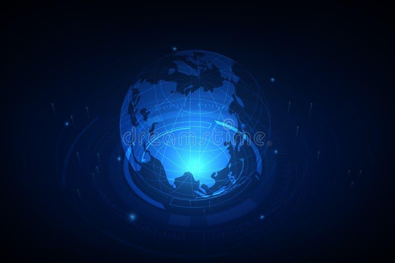 globala internet för bäst affärsidé Jordklotet som glöder fodrar på teknologisk bakgrund Elektronik Wi-Fi, strålar, symboler royaltyfri illustrationer