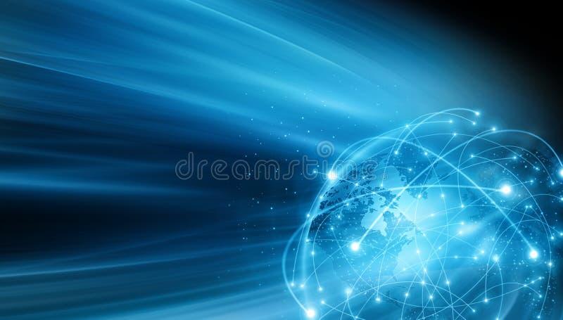 globala internet f?r b?st aff?rsid? Jordklotet som gl?der fodrar p? teknologisk bakgrund Wi-Fi str?lar, symboler stock illustrationer