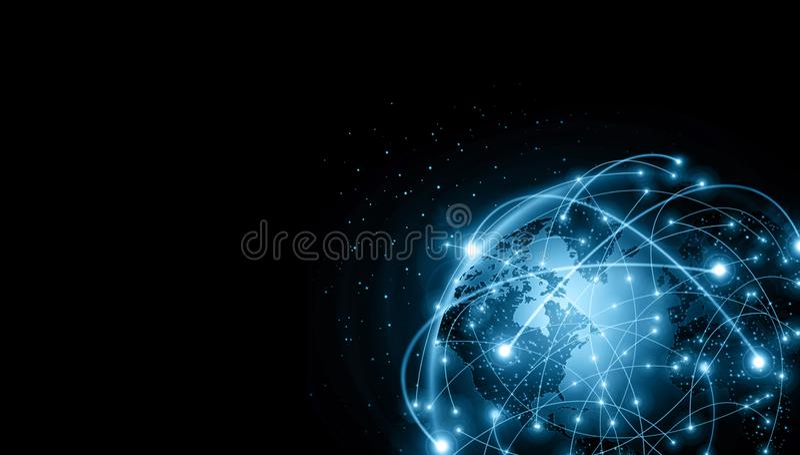 globala internet f?r b?st aff?rsid? Jordklotet som gl?der fodrar p? teknologisk bakgrund Wi-Fi str?lar, symboler royaltyfri illustrationer