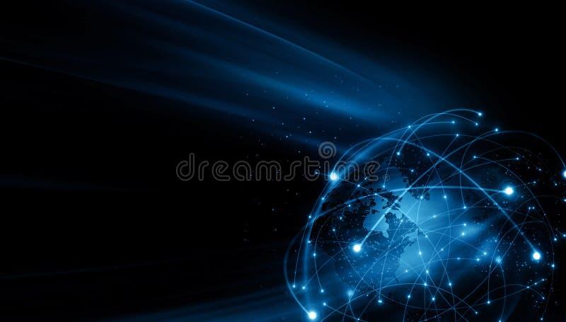 globala internet f?r b?st aff?rsid? Jordklotet som gl?der fodrar p? teknologisk bakgrund Wi-Fi str?lar, symboler vektor illustrationer