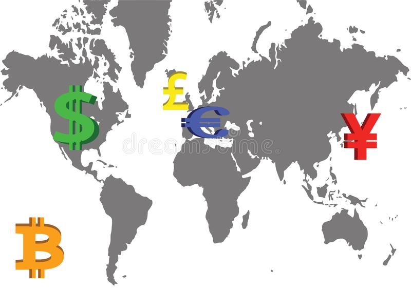 Globala Major Currencies royaltyfri illustrationer