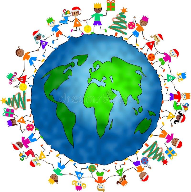 globala ungar för jul royaltyfri illustrationer