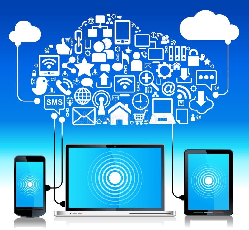 Globale aansluting laptop telefoontablet stock illustratie