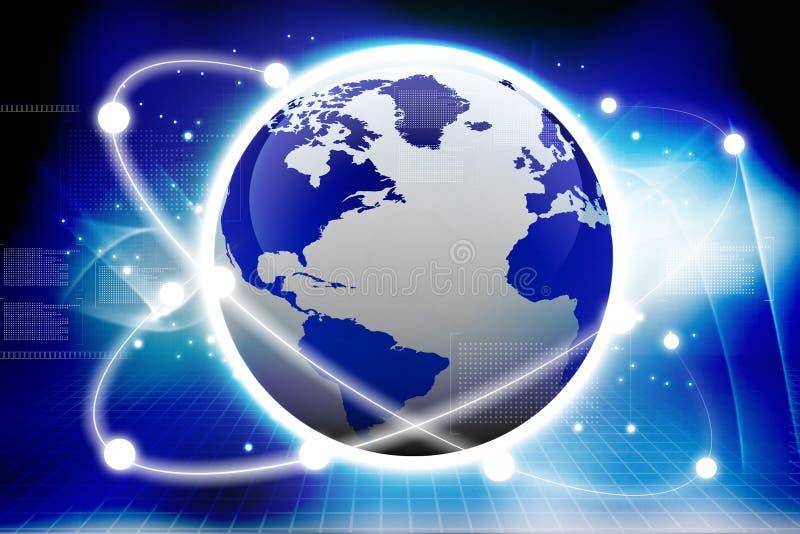 Globale aanslutingen. Digitale aarde vector illustratie