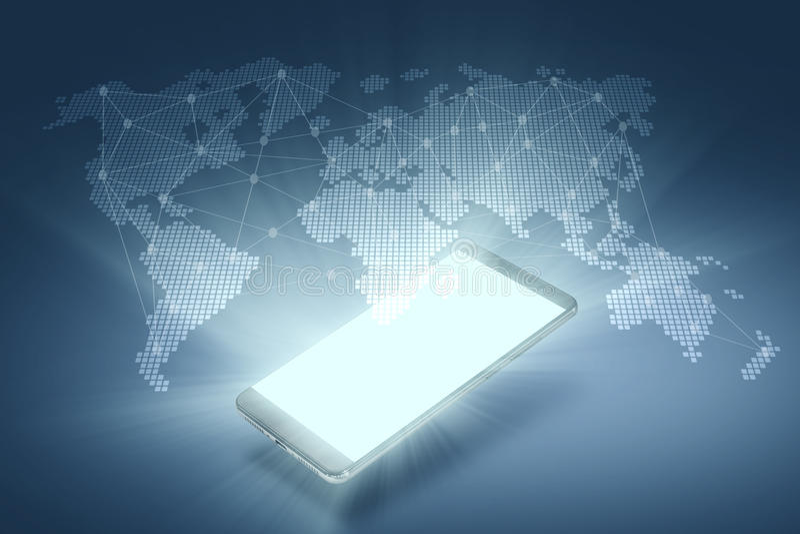 Globale Aanslutingen Smartphone met Holografische Dis royalty-vrije illustratie