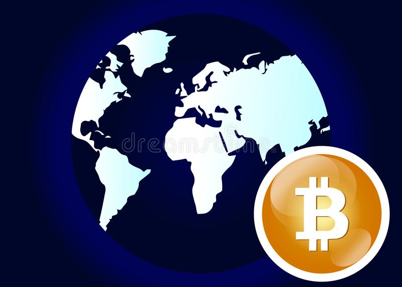 Globale abstrakte währungs-Technologie-Welt Bitcoin Schlüssel stock abbildung