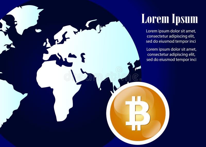 Globale abstrakte währungs-Technologie-Weltkarte Bitcoin Schlüssel lizenzfreie abbildung