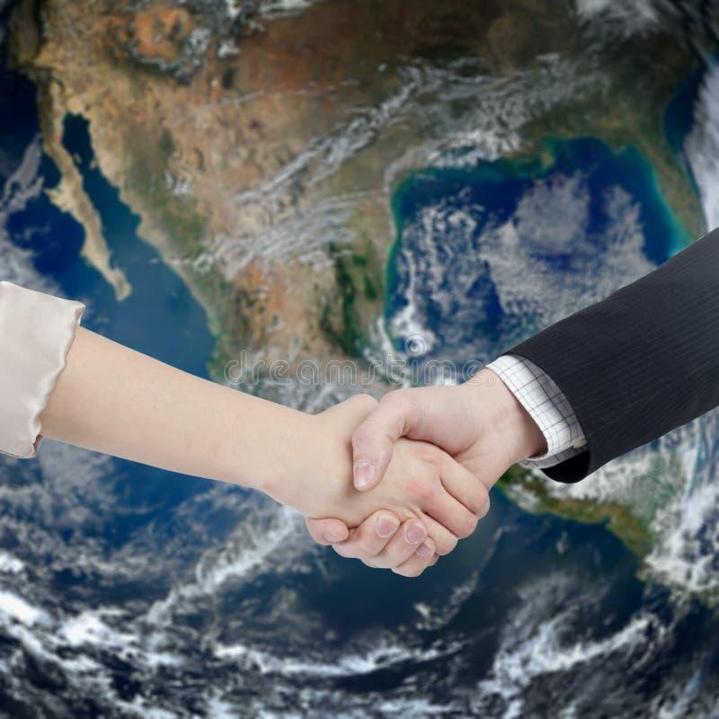 Globale bedrijfshanddruk royalty-vrije stock foto