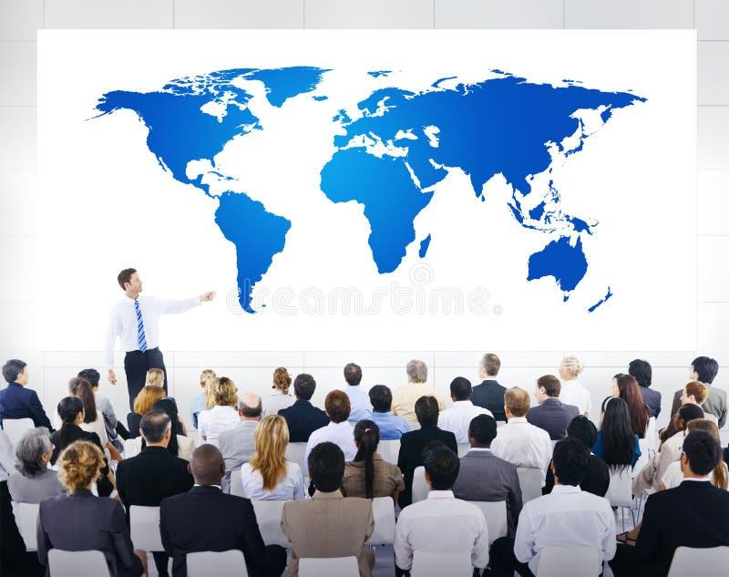 Globale Bedrijfspresentatie met Wereldkaart stock afbeelding