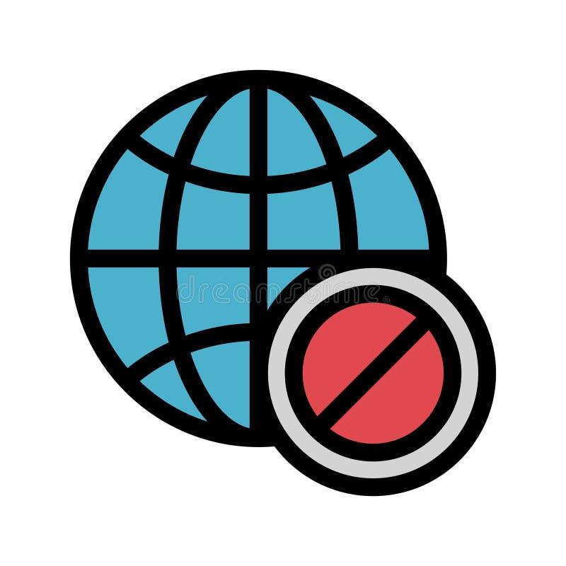Globale Blockfarblinieikone vektor abbildung