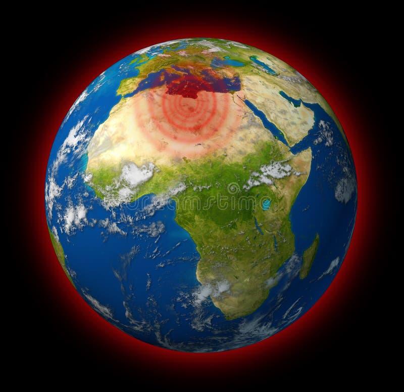 Globale brenzlige Stelle der Libyen-$überschneidung stock abbildung