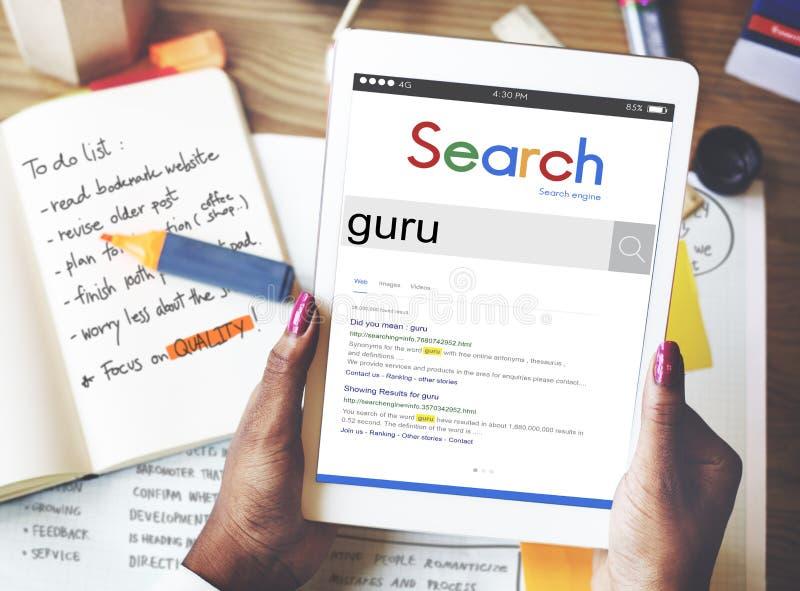 Globale Browser Guru Concept van de Onderzoekswebsite royalty-vrije stock afbeeldingen
