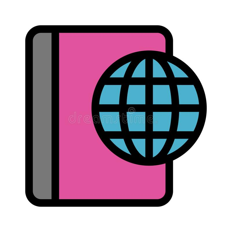 Globale Buchfarblinieikone stock abbildung