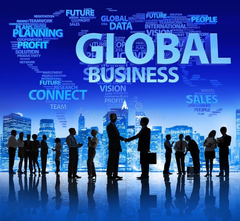 Globale Commerciële Vergadering bij Nacht stock fotografie