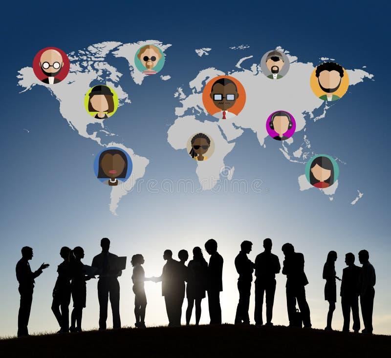 Globale Communautaire Sociale het Voorzien van een netwerkverbinding Conce van Wereldmensen royalty-vrije stock afbeelding