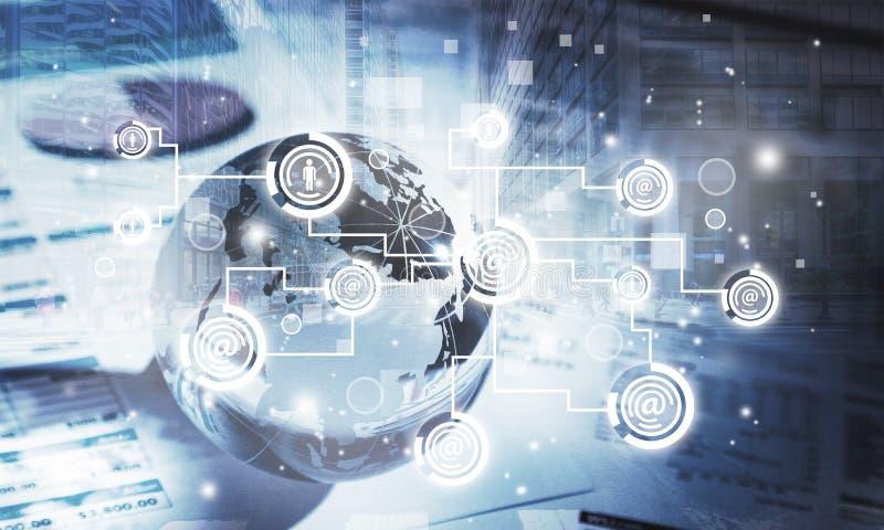 Globale communicatie concept en illustratie stock illustratie