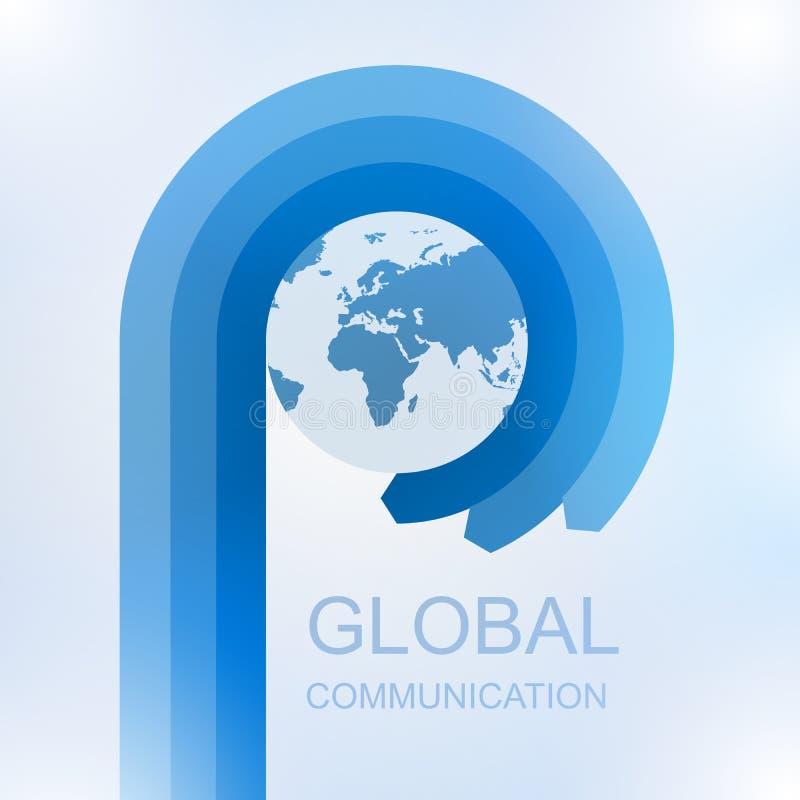 Globale communicatie met Pijl in cirkel rond wereld royalty-vrije illustratie