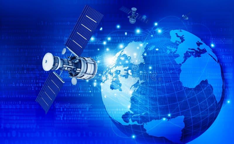 Globale communicatietechnologie met satelliet stock foto's
