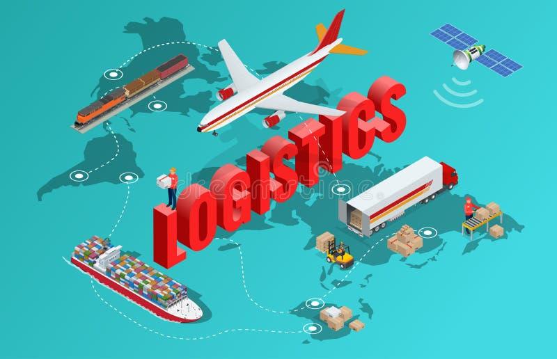 Globale 3d isometrische vector de illustratiereeks van het logistieknetwerk vlak van luchtvracht maritieme het vervoer van het vr vector illustratie