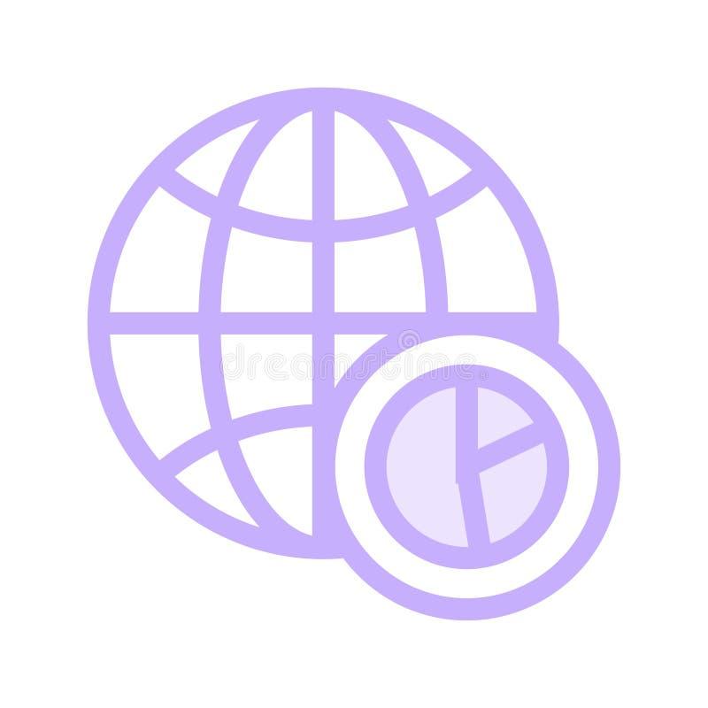 Globale Diagrammfarblinieikone stock abbildung
