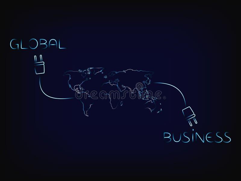 Globale die zaken met wereldnetwerk worden verbonden stock illustratie