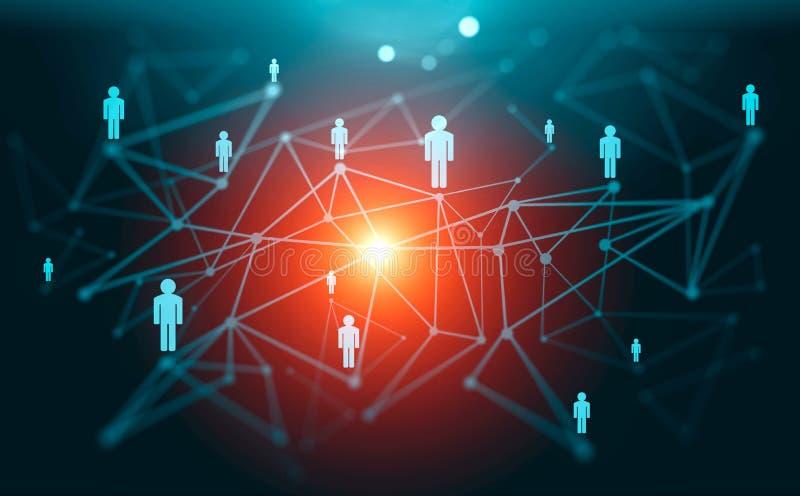 Globale digitale Verbindungen mit Technologie und Sozialem Netz stock abbildung