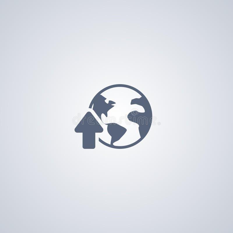Globale download, download, vector beste vlak pictogram royalty-vrije illustratie