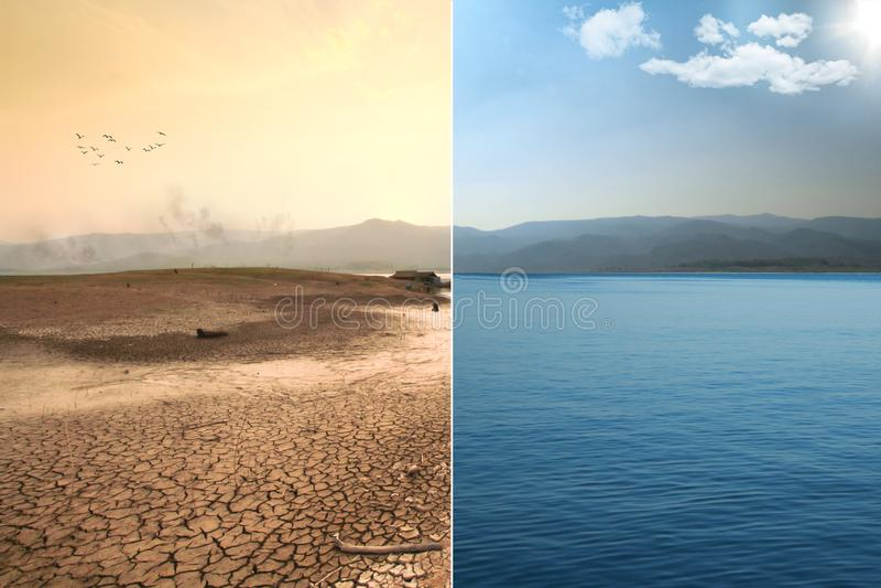Globale Erwärmung und Klimawandelauswirkung lizenzfreies stockbild