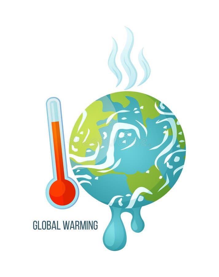 Globale Erwärmungs-Planet mit Thermometer-Plakat lizenzfreie abbildung
