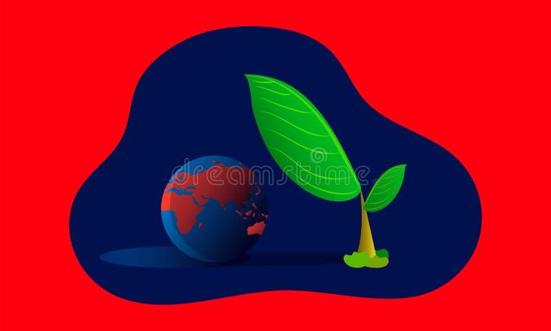 Globale Erw?rmung die geschützte Erde des Helden Bäume von der Hitzezone der hohen Temperatur Hei?er Planet Illustration esp10 lizenzfreie abbildung