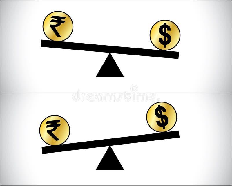Globale Forex die - Dollar en Indische Roepie handel drijven stock illustratie