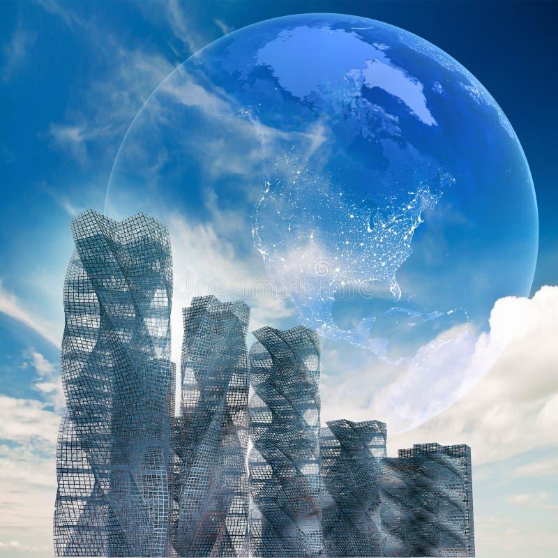 Globale futuristische architectuur stock illustratie
