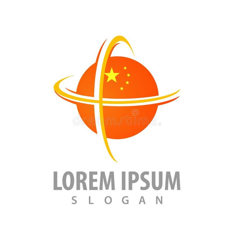 Globale gebiedsinaasappel met sterconceptontwerp Het elementenvector van het symbool grafische malplaatje stock illustratie