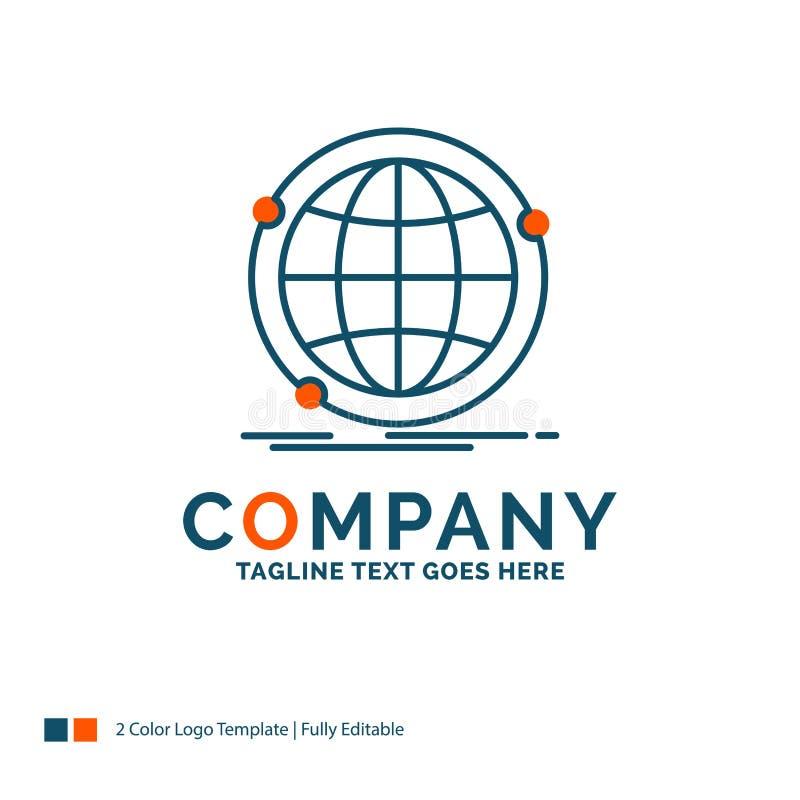 Globale gegevens, Internet, netwerk, Web Logo Design Blauw en Orang-oetan vector illustratie