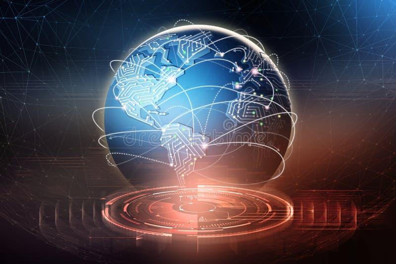 Globale gegevensuitwisseling Vorming van een planetarisch communicatienetwerk royalty-vrije illustratie