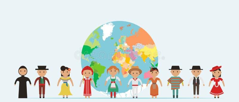 Globale Gemeinschaft Internationaler Freundschaftstag! Vektorillustration des verschiedenen Kinderhändchenhaltens um den Planeten vektor abbildung
