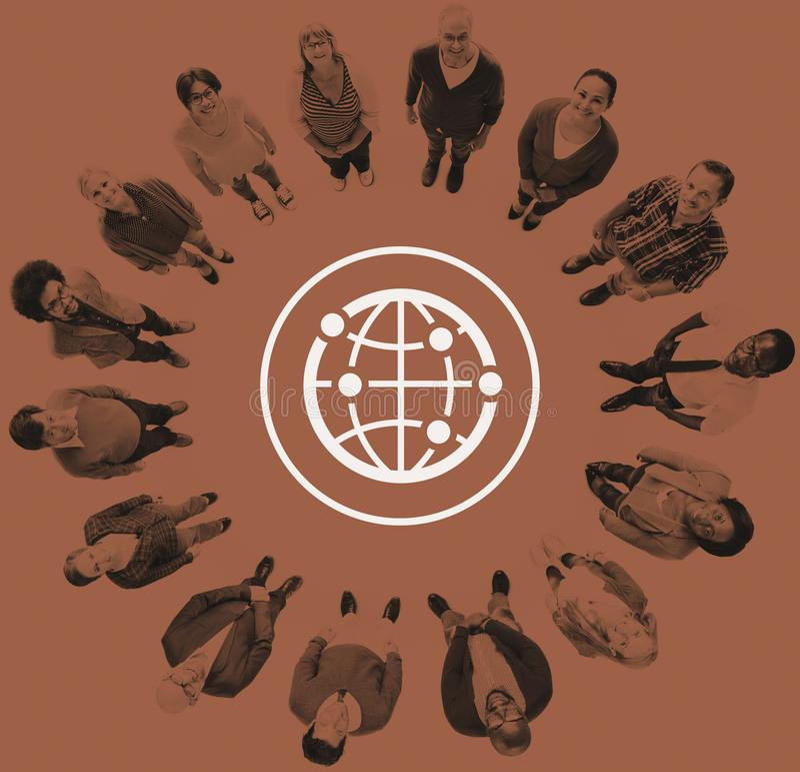 Globale Gemeinschaftsinternationale weltweite Welt angeschlossen vektor abbildung