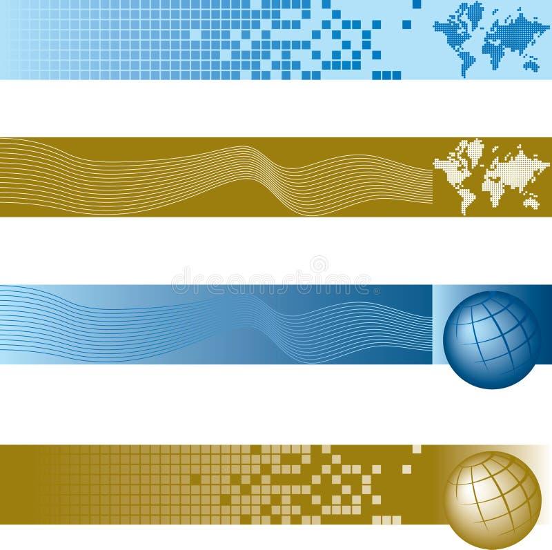 Globale geplaatste banners royalty-vrije illustratie