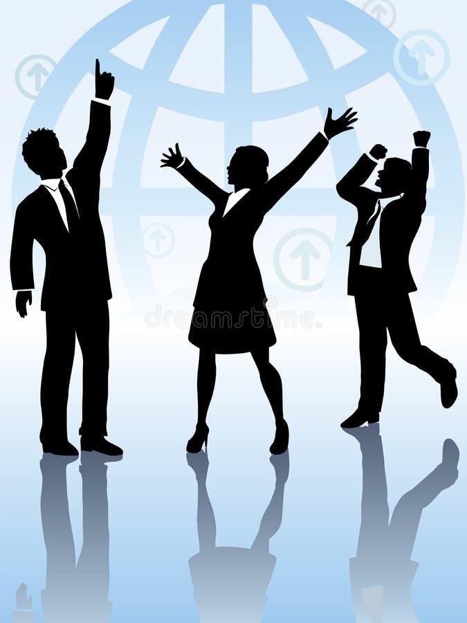 Globale Geschäftsleute Team feiern Gewinn stock abbildung