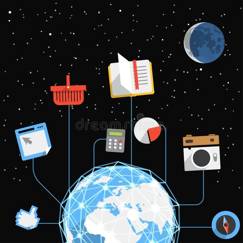 Globale het communiceren regeling ter wereld vector illustratie