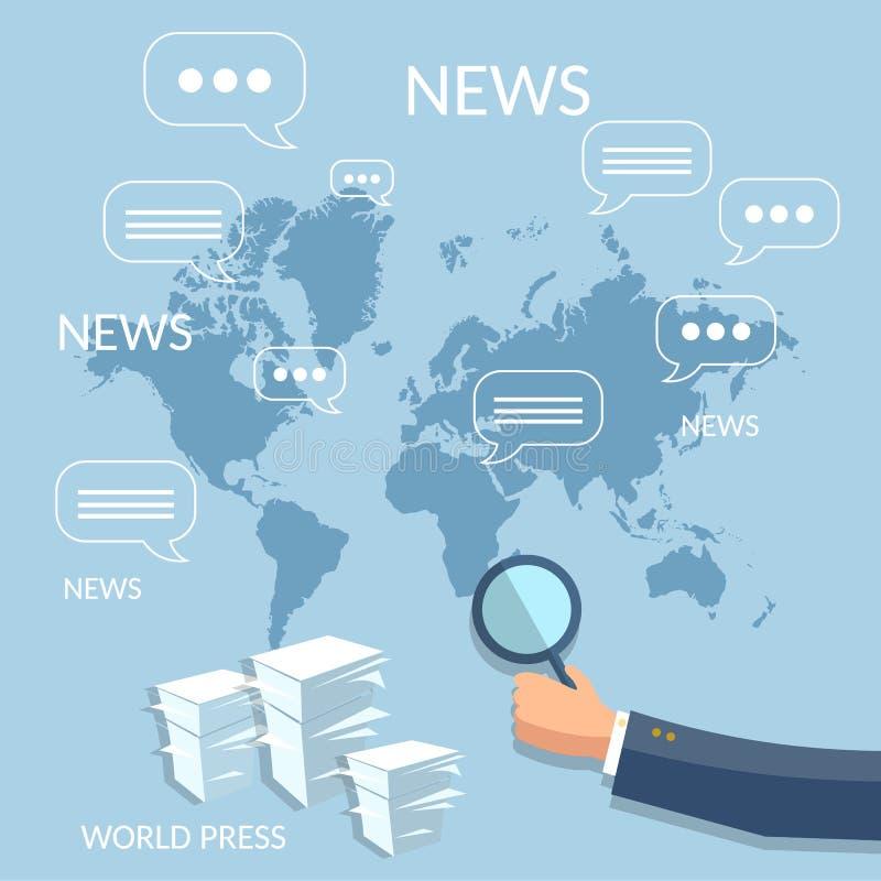 Globale het concept van het nieuwsfinanciële verslag collectieve online opleiding royalty-vrije illustratie