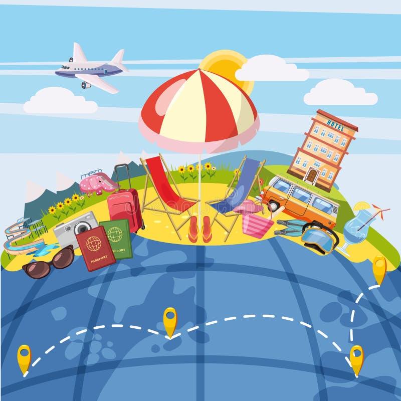 Globale het concept van het reistoerisme, beeldverhaalstijl royalty-vrije illustratie