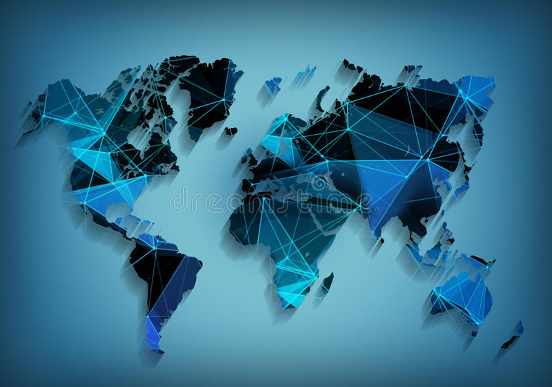 Globale het netwerktechnologie van de wereldkaart Sociale mededelingen stock foto's