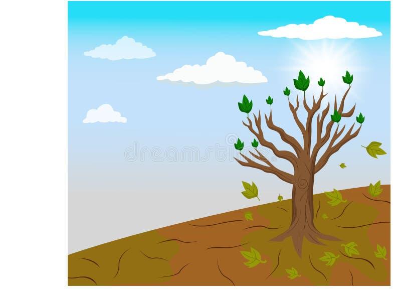 Globale het verwarmen en van A enige boom verlaten in klimaatverandering vector illustratie