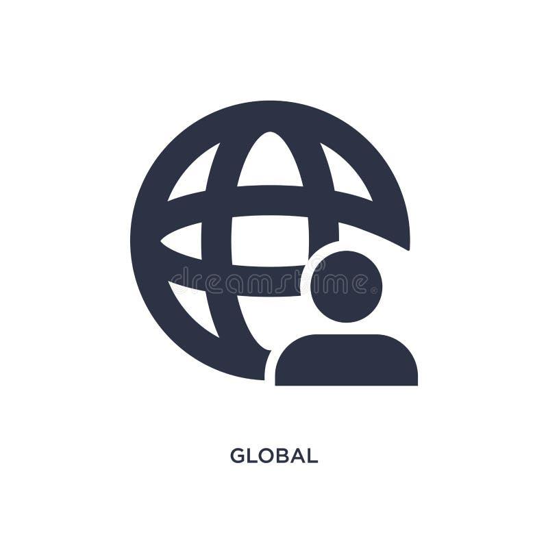 globale Ikone auf weißem Hintergrund Einfache Elementillustration vom Strategiekonzept vektor abbildung