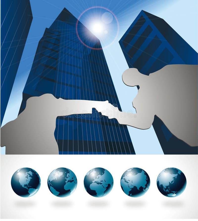Globale internationale bedrijfssamenwerking vector illustratie